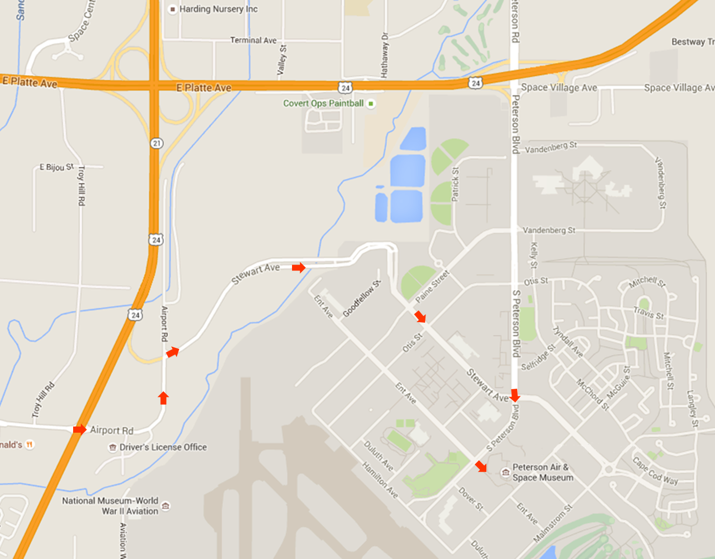 Driving Route to Peterson Air & Space Museum